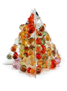 Из декоративных камней, медной проволоки и двух жестяных листов можно сделать прекрасное декоративное украшение для праздничного стола или оригинальный подарок